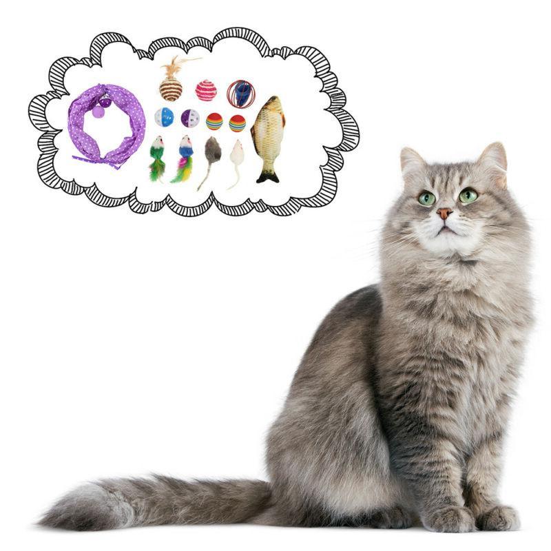 24Pcs Cat Toys Set Bulk Mice Balls Catnip Play Ball Toy New