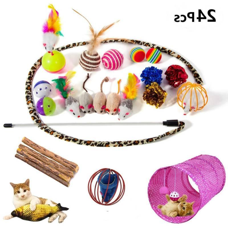 24Pcs Pet Toys Set Mice Balls Catnip Play New