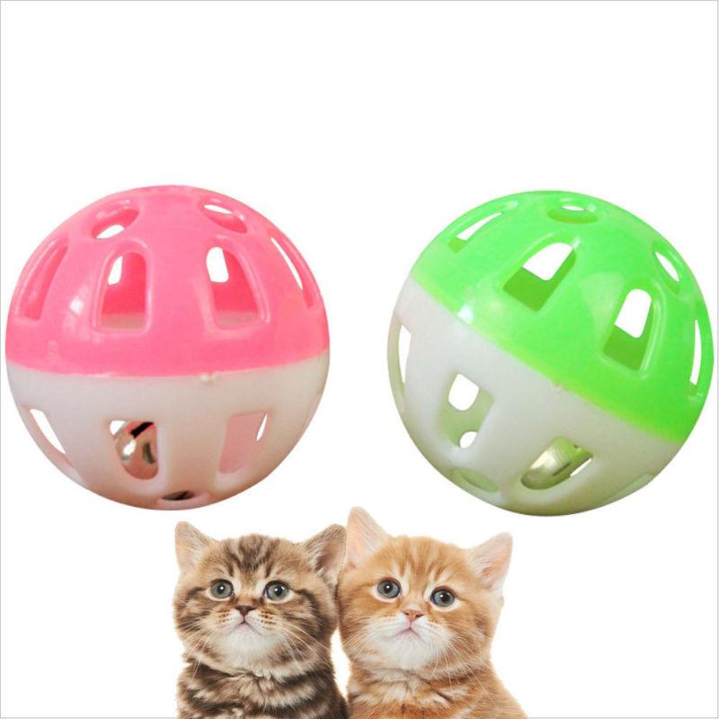 2x Cat Toys Bell Plastic Puppy Cat Round Play Ball Bell Poun