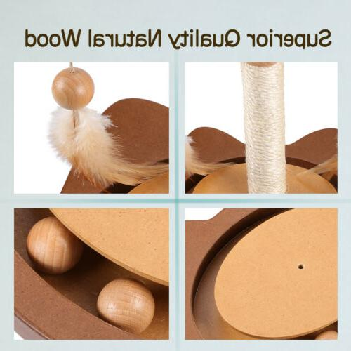 3 Kitten Toy Cat Feather Ball Teaser Scratching