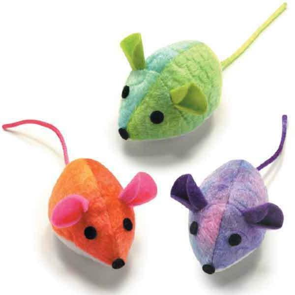 3 paradise mice cat toys honeysuckle catnip