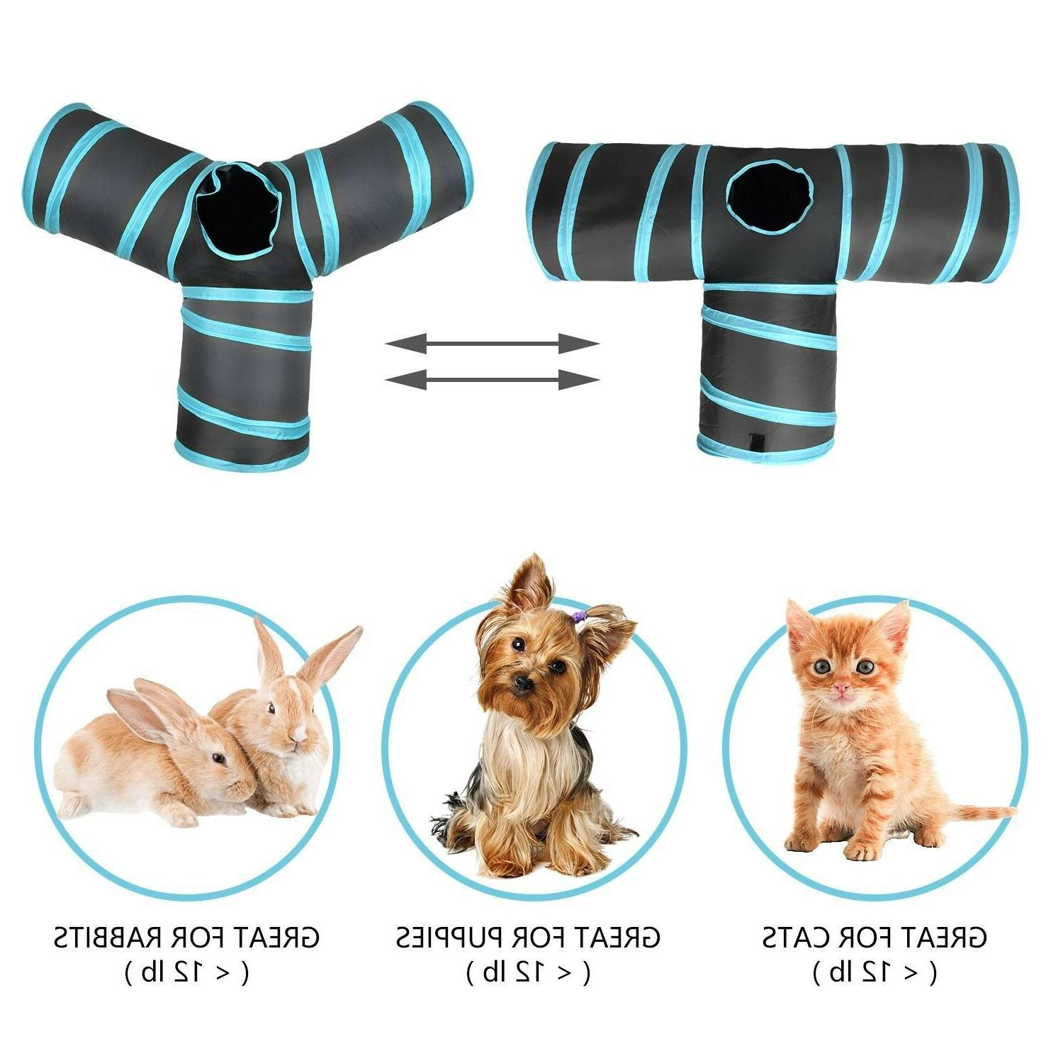 3 Way Cat Tunnel, Creaker Collapsible Pet Toy with Ball for