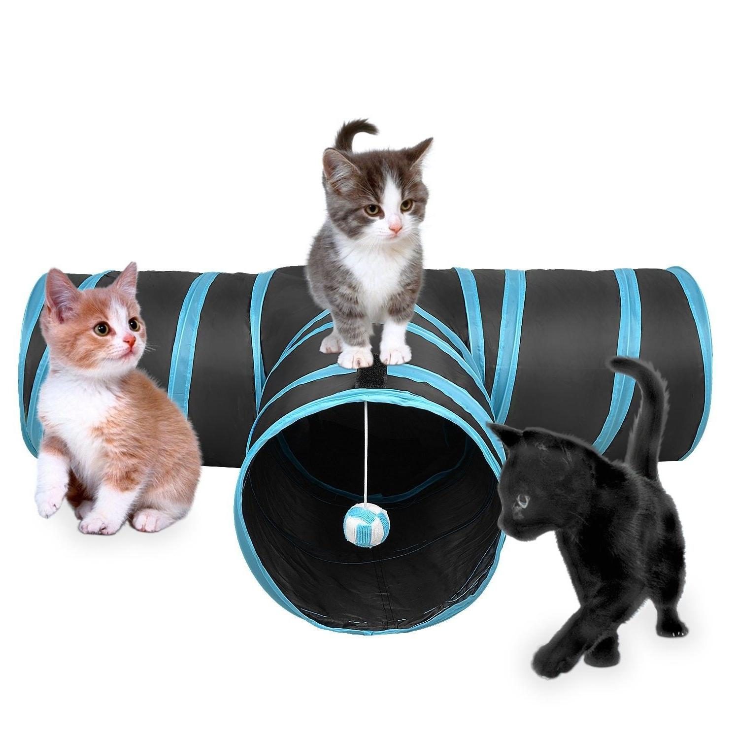 Creaker 3 Way Cat Tunnel - Collapsible Pet Toy with Ball f/