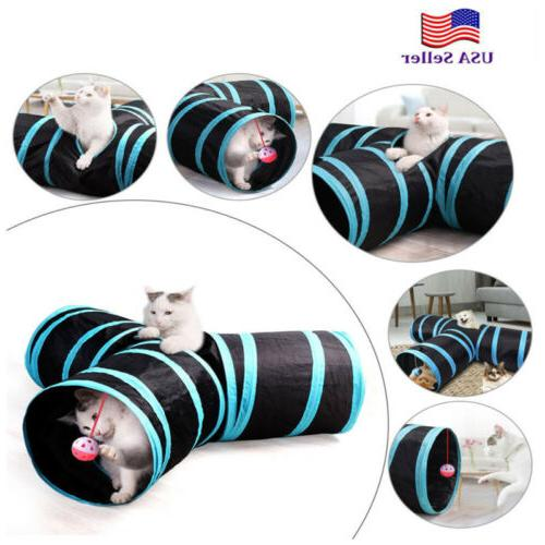 3 WAY Y Shape Pet Cat Tunnel Toy Outdoor Foldable Kitten Rab