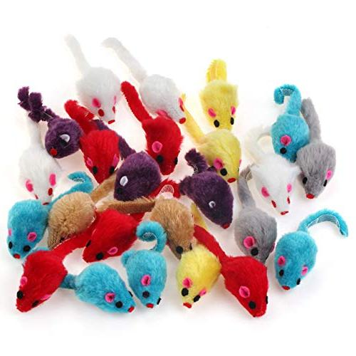 Chiwava 60PCS 4.1'' Cat Toy Small Mouse Play Assorted Color