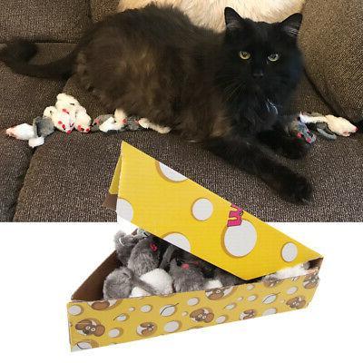 48pc plush mouse bulk fuzzy cat toys