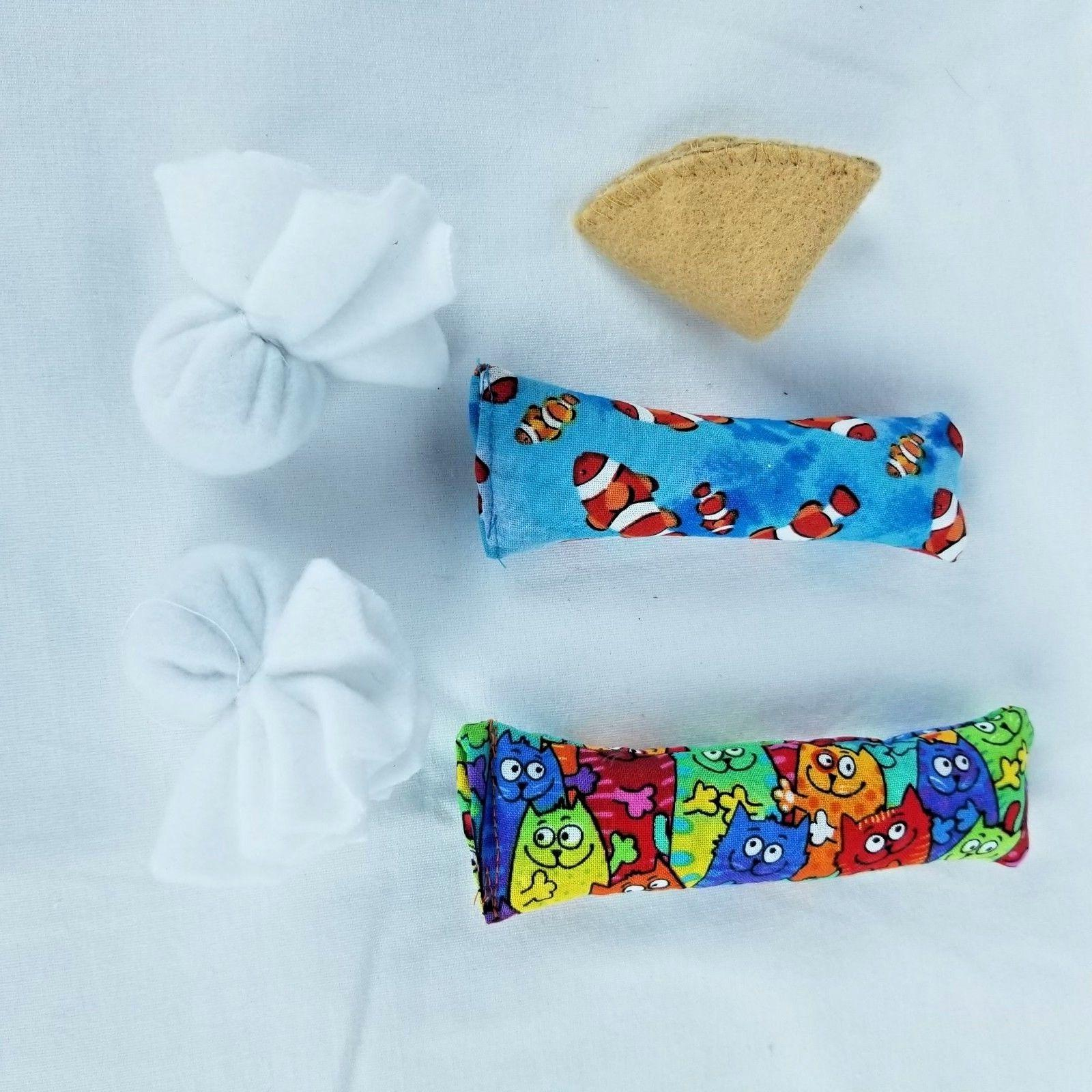 5 Handmade Cat Pillow Toys - Cat Tested & Approved, Filled w