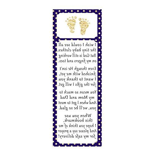 50 Bookmarks Baby Shower Party Favor Gift Idea Footprints Na