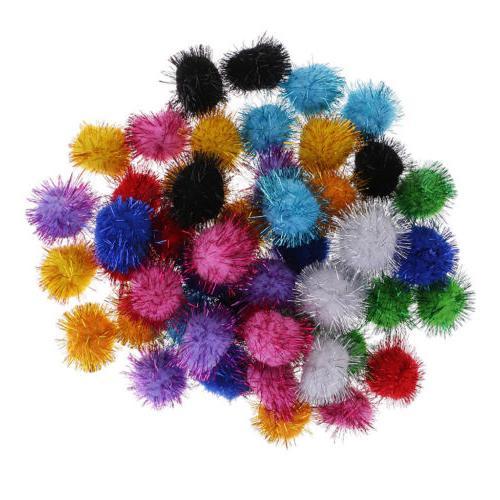 50 glitter pom pom balls 35mm sparkly