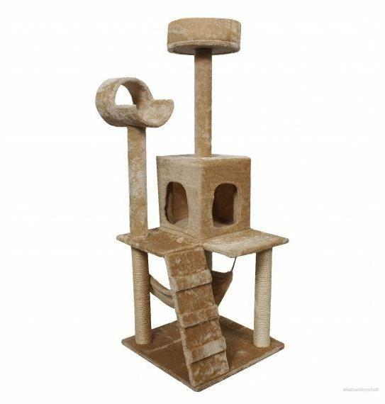 52'' Tree Pet Condo Furniture Toys Scratcher Beige