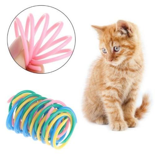 5pcs cat toys colorful spring plastic bounce