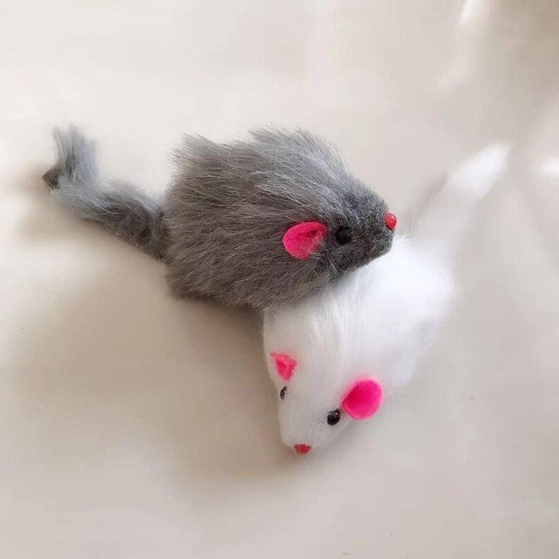 5Pcs Mouse Pet Tail Mice Rattling Real Rabbit Fur <font><b>For</b></font> <font><b>Cats</b></font>