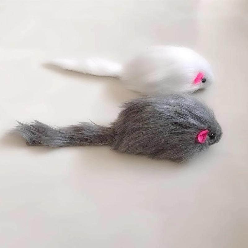5Pcs False Mouse <font><b>Cat</b></font> Pet Long-haired Rattling Real Fur Sound <font><b>For</b></font> <font><b>Cats</b></font>