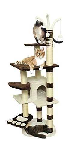 "64"" Brown White Pet Cat Tree Play House Tower Condo Bed Sc"