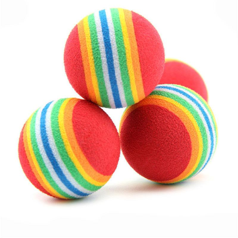 6pcs Pet Cat Soft Rainbow Balls Colorful Funny Toys