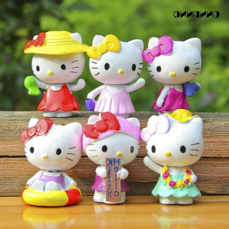 6pcs/set Hello Kitty <font><b>Cat</b></font> Set Miniatures Gift Fairy Handicraft <font><b>Garden</b></font>