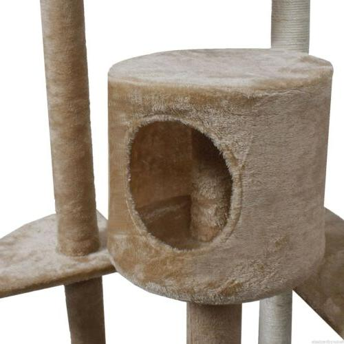 "80"" Furniture Scratch Post House Beige/Navy/Beige Paws"