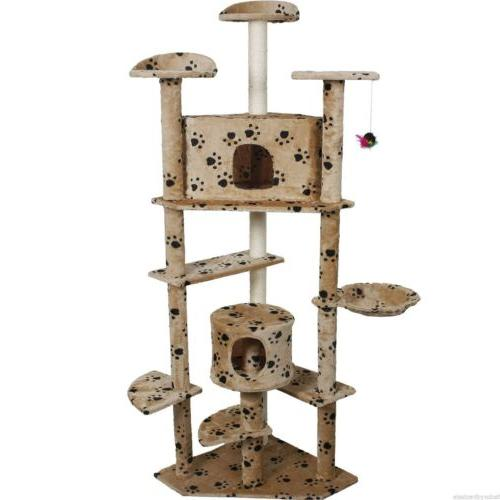 """80"""" Tree Furniture Scratch Post House Beige/Navy/Beige Paws New"""