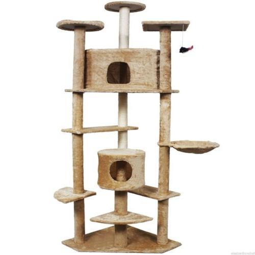 "80"" Cat Condo Furniture Pet House Beige/Navy/Beige Paws"