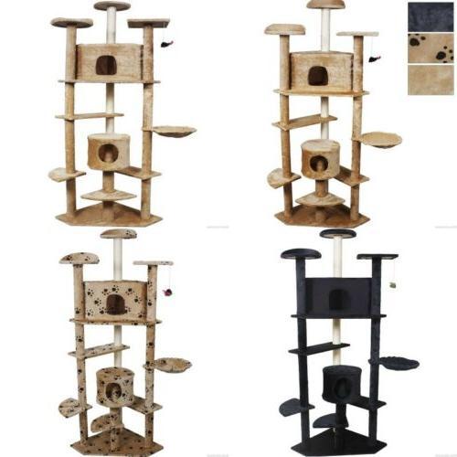 "80"" Cat Furniture House Beige/Navy/Beige Paws"