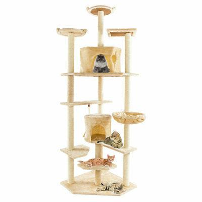 "80"" Tree Condo Furniture Scratching Post Pet Kitty Play House"