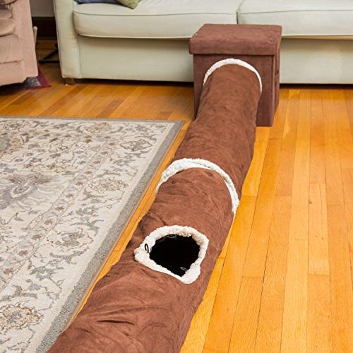 Cat Tunnel, Play Toy Crinkle Fun Hiding Zooming in and 100% Friendly, Foldable, Collapsible, to Brown