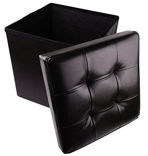Brilliant Faux Leather Folding Cube Storage Ottoman With Padded Cjindustries Chair Design For Home Cjindustriesco