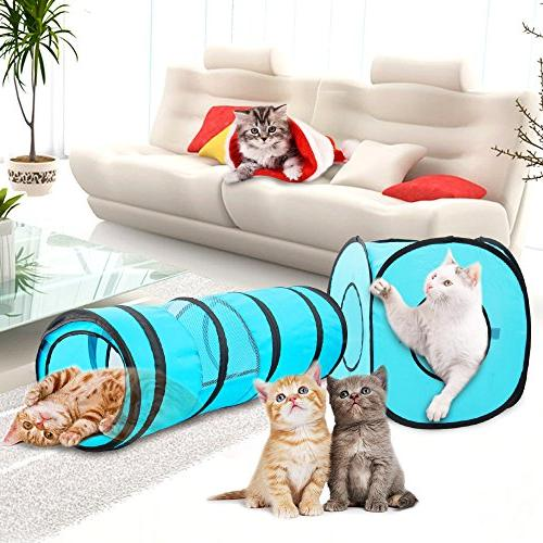 PAWISE Toys Tunnel Cat Pop Up Collapsible Kitten Indoor Outdoor