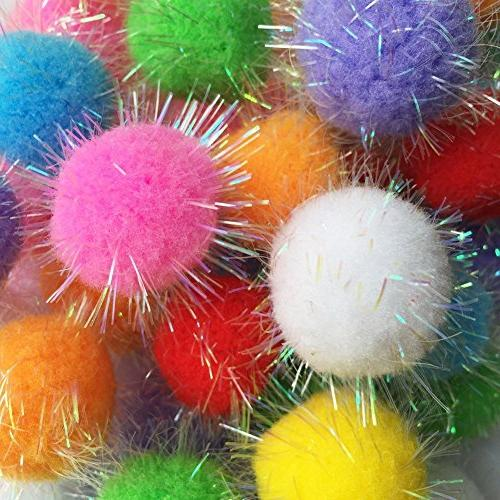 TECH-P Glitter Poms Poms Sparkle Big Balls Pet Toy Balls Par