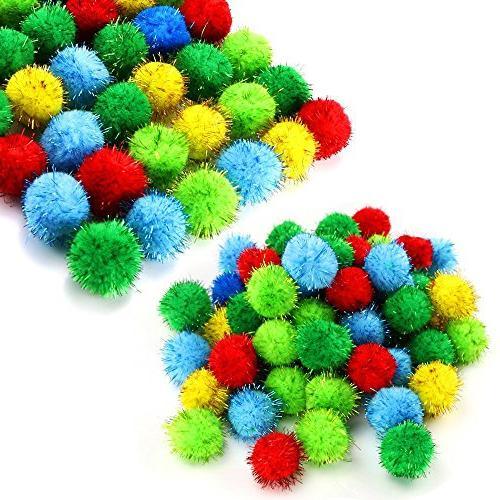 TKOnline 100 Piece Assorted Color Sparkle Balls Glitter Tins