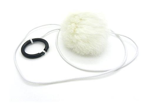 Bouncy Ball Rabbit fur String Cat Toy White