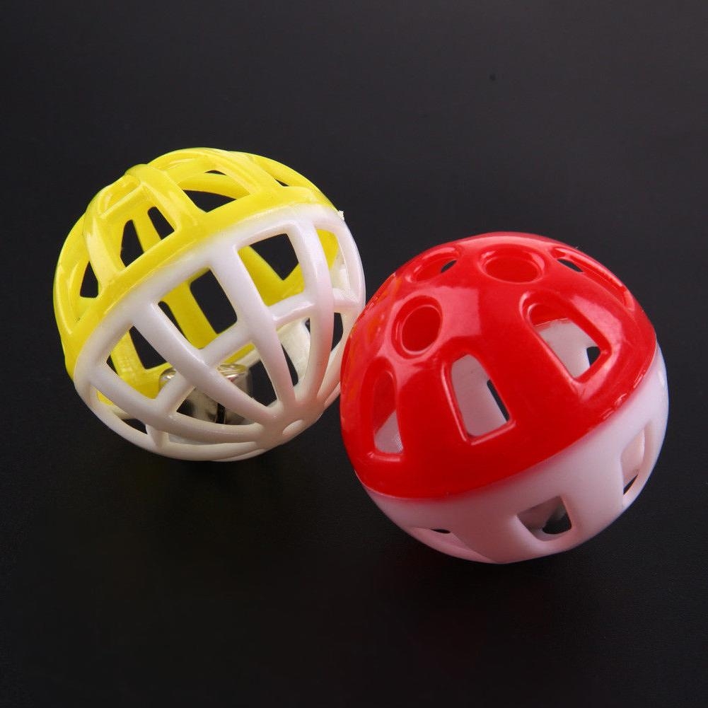 BW#A 10pcs Plastic Out Round Pet Colorful Ball Toys Small Bell