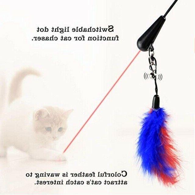 Cat Toy, Feather Teaser Laser Light Bell Kittens Cats