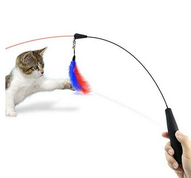 Cat Toy, Feather Teaser Wand Light Kittens and Cats
