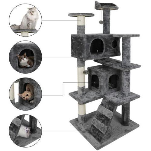 Cat Tower Scratcher Furniture w/Scratching Post&Toys