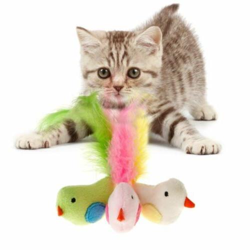 cat false bird feather toys play interactive