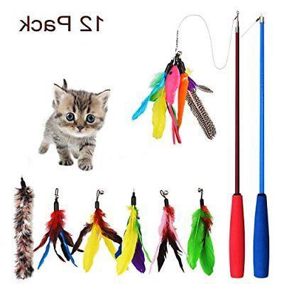 cat feather toy 12 pcs retractable cat