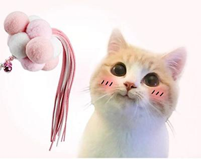 Hateli Cat Feather Interactive Wand Toys with Bells Pompon Pink