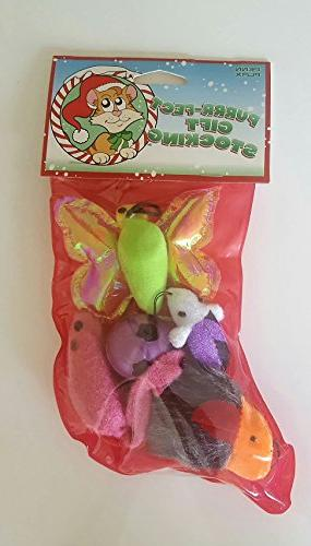 cat holiday stocking assorted toys