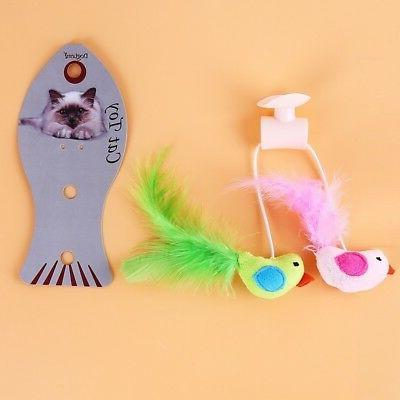 Cat Plush Bird Wand Window Toys
