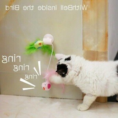 Cat Plush Interactive Bird Wand Window Cat Toys