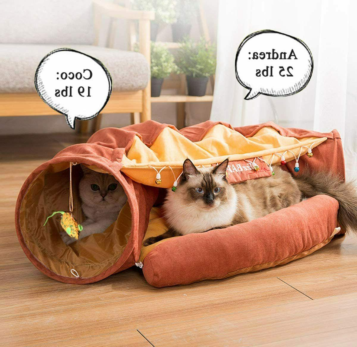 Cat Rabbits Toys Collapsible Bed Cozy Brown