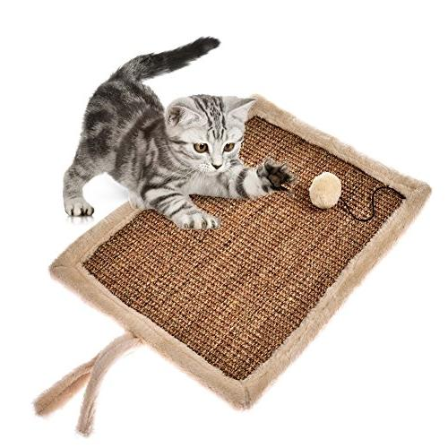 Yunt Scratch Cat Scratcher Hemp Toy Post Mat With Ball