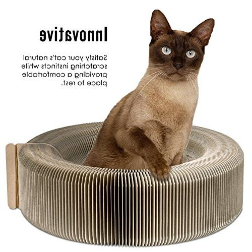 PAWABOO Cat Lounge Bed Premium Recycled Toy Lounge Bed with Catnip for Cat Beige