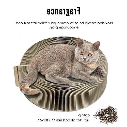PAWABOO Scratcher Bed - Premium Recycled Cardboard Scratching Toy Pad Bed with Catnip Cat Kitty Kitten, Beige