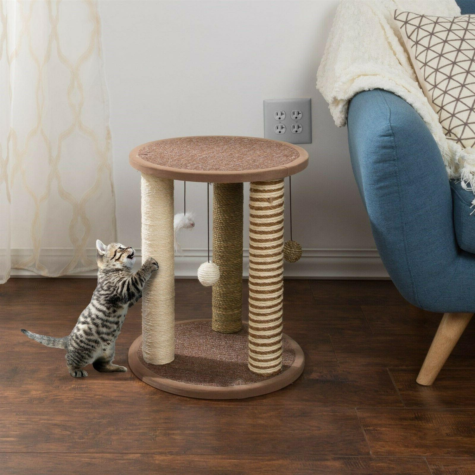 Cat Scratching Post Perch Rope and Kittens