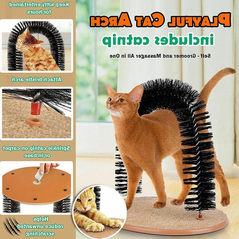 cat self groomer arch pet round fleece