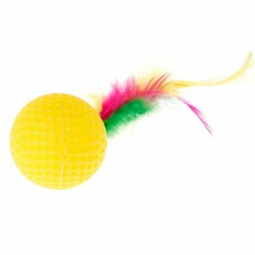 Cat Teaser Golf Ball Feather Toys Play Pet Supplies