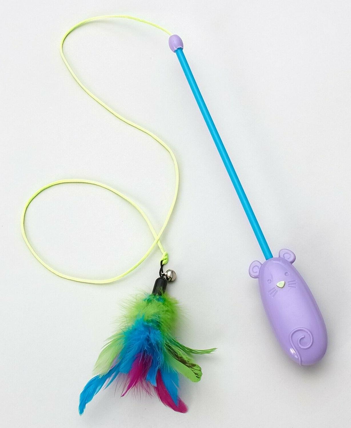 cat teaser toy laser and feather wand