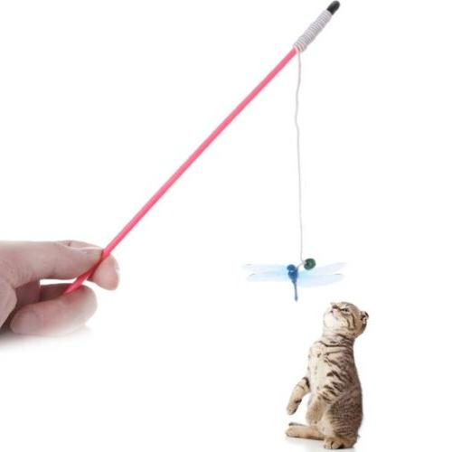 cat teaser toys dragonfly rod stick funny